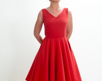 Bridesmaid dress, red dress, party dress, party dress, 50's dress, mad men dress, vintage inspired, CUSTOM MADE