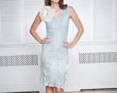 White wedding flower, felted brooch eco friendly soft flower cream blue wedding bridesmaid fall autumn fashion pastel