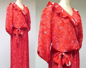 Vintage 1980s Susan Freis Set / 80s Red Mixed Print Gypsy Top Micro-pleated Skirt / Small - Medium