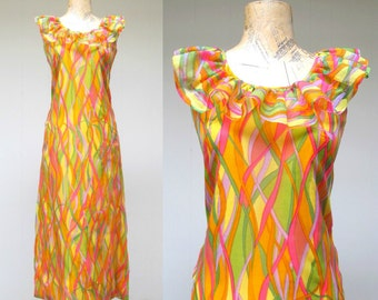 Vintage 1960s Dress / 60s Colorful Chiffon Psychedelic Print Maxi Dress / Small