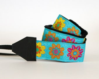 Camera Strap - DSLR Camera Straps - Padded Camera Strap - Nikon Camera Strap - Photographer Gift - Extra Long  - Enchanting Turquoise