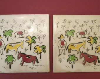 One Primitive 6 Inch Square Folk Art Ceramic Tiles - Naive Style - Signed by Unknown Artist