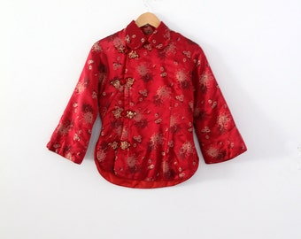 vintage Chinese jacket, red satin brocade shirt coat, cheongsam jacket