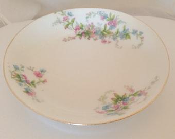 6 French Limoges Berry Bowls - Bone China Dessert Meadow wild flowers - green pink white blue shower bridal set - Bawo Elite Pouyat Dotter