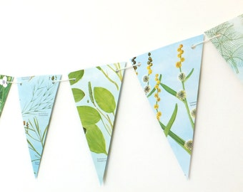 Botanical Banner, Plants Bunting,  Eco-friendly garland, recycled pennants, flower garland, blue