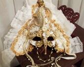 Elegant Mask Masquerade, White n Gold Face Mask,  Mardi Gras Eye Mask or Masquerade Ball Mask.