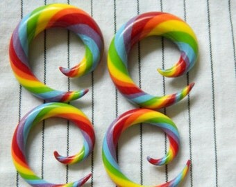 Rainbow Spiral Gauges 8g-00g