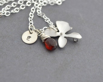 Personalized Orchid Necklace Sterling Silver Chain, Red Garnet, January Birthstone, Monogrammed Gift, Gift Under 35