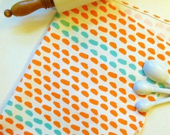 Modern Brushstroke Striped Dot Pattern Linen Kitchen DishTowel Choice of Color Original Design Nadine Westcott Handmade Orange and Aqua
