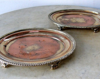 2 SHEFFIELD PIN TRAYS Oval Card Trays Card Dishes Gadroon Edge 4 Shell & Scroll Feet Silver on Copper English Regency Period 1800's