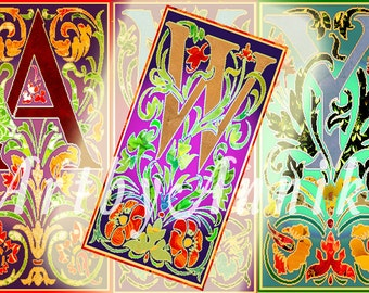 Victoriana Letter Images - 30 1x2 Inch JPG images