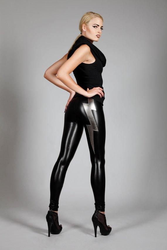 Lightning Bolt Leggings , Black Leather Spandex Pants, Glam Rock Clothing, Heavy Metal Stage Wear, Designer Fashion, by LENA QUIST