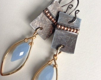 Natural chalcedony faceted beads with gold-filled accent beads and silver - dangle wire wrapped earrings