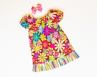 SUMMER SALE Girls PEASANT Dress with m2m Hairbow Summer Dress School Clothes  3mo 6mo 9mo 12mo 18mo 24mo 2T 3T 4T  5