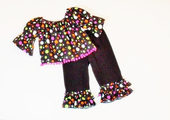 Girls HALLOWEEN RUFFLE PANTS Outfit Sizes 3mo to 8 Boutique Fall Clothes 3mo 6mo 9mo 12mo 18mo 24mo 2T 3T 4T 5 6 7 8