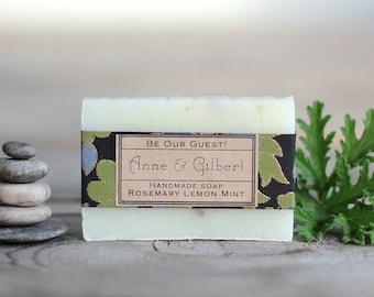 Wedding Favor Custom Label soap favor Natural essential oil soap Bridal shower personalized bride and grooms name date black green blue
