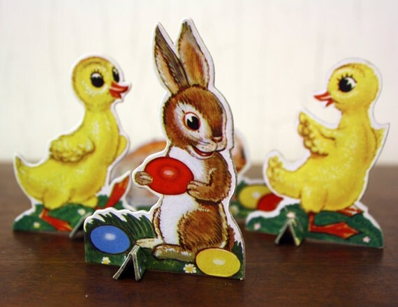 Vintage Lot of 4 Cardboard Ephemera Easter Figures (E4340)
