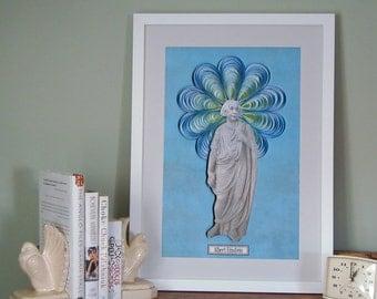 Albert Einstein poster, Einstein's head on Plato's body, Scientist poster, science art, geek art,  science illustration