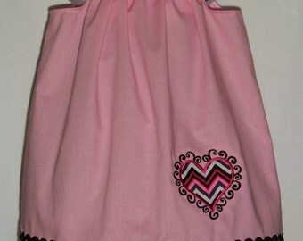 Valentine's Day Chevron Heart Dress / Pink / Beautiful / Newborn / Infant / Baby / Girl / Toddler / Custom Boutique Clothing
