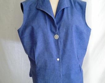 Vintage 1950's Blouse Cotton Denim Blue Blouse Sleeveless XL 48 bust 42 waist Rockabilly