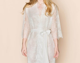 The Odette french lace & silk bridal robe getting ready kimono lined in off-white