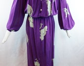 Vintage Glam BILL BLASS Hostess  Maxi Draped Dress Gown 100% Silk Print Saks fifth Ave 70s glamour
