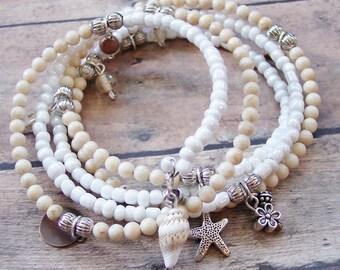 Starfish Bracelet, Stone Wrap Bracelet, Beach Bracelet, Gemstone Bracelet, Shell Bracelet, Coastal Beach Jewelry, Beach Lover Gifts