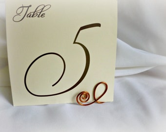 Copper Wedding Decor, Table Number Holders, 5pcs