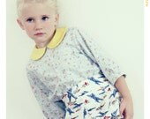 Sunny Skies Girls Peter Pan Collar Blouse. Vintage Inspired Cotton Shirt in Airplane print.  Limited Edition. Fleur + Dot.