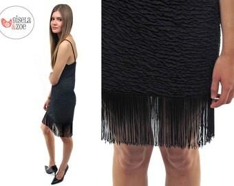 Black Fringe Dress / Vintage 80s Body Con Fringe Dress / 80s Flapper Dress • sm • md
