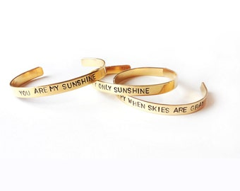 You are my sunshine set bracelets, stacking bracelets, inspirational quote, mother daughter jewelry - hand stamped bracelet, handmade