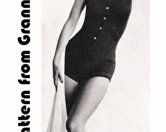 Knit 1 Piece/Swimsuit VINTAGE KNITTING PATTERN 1950s Retro/Pinup/Bombshell Swimwear, Instant Pdf Pattern from GrannyTakesATrip 0235