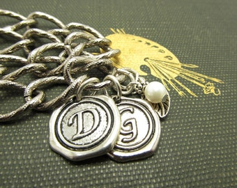 Monogrammed Silver Bracelet Wax Seal Antique Silver Two Initials, Pearl, Leaf, Double Chain, For All Occasions