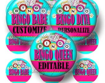 BINGO QUEEN, Editable, Bottle Cap Images, Digital Collage Sheet, Instant Download, 1 Inch Circles, (No.1) Printable Bingo Images,