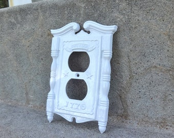 Metal White Outlet Cover Vintage Fyfe and Drum Cast Iron