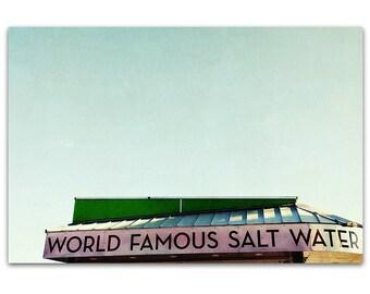 Beach Art // Mid Century Modern //  Santa Cruz Boardwalk - Salt Water, original 16x24 photograph