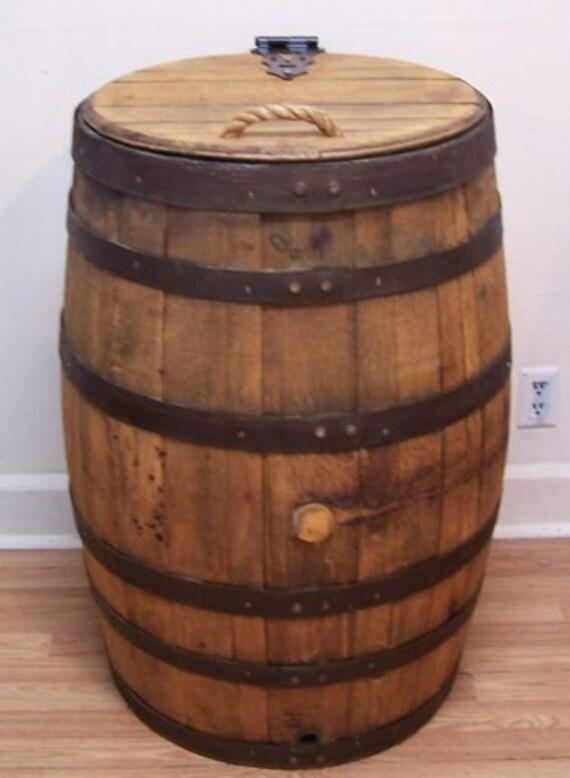 Old Whiskey Barrel Trash Can With Single By Auntmollysbarrels