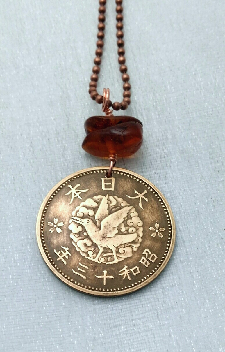 coin jewelry japanese coin necklace antique by
