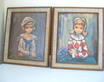 "Vintage Litho - Prints - ""Eden"" - Big Eyed Girls - Set of 2 Framed - Sailor and Harlequin - 60's - Retro Big Eye Art"