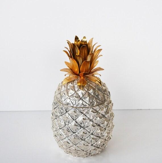 Vintage Silver Pineapple Ice Bucket Italian By Judysjunktion