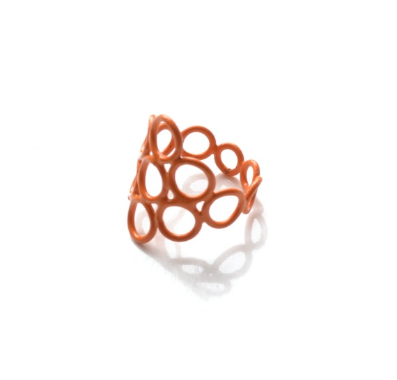 size 5.5, modern geometric style ring in bright orange made with jump rings, powdercoated ring in unique style, 50% OFF SALE