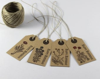 Happy Birthday Gift Tags, Set of 8 Rustic Birthday Tags