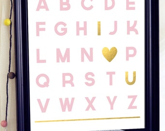 Printable Alphabets, Printable Alphabet Letters, Printable Nursery Wall Art, Pink and Gold Nursery Decor, Nursery Alphabet Wall Art, Abc