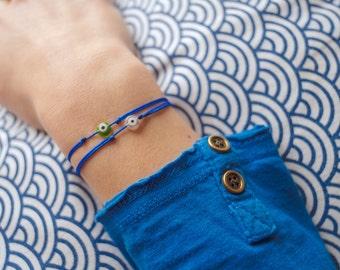 Lucky eye bracelet electric blue - evil eye bracelet - blue bracelet with evil eye - lucky charms bracelet
