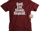 Golf Shirt Gift for Men Golf Eat Sleep Repeat Golf Tshirt for Gift for Husband Boyfriend Son Golfer
