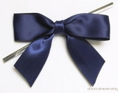 12 NAVY BLUE Pre-made Bow Embellishments