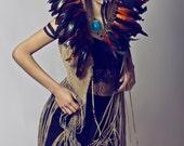 Orange and black festival feather headband, feather crown, burnt orange headdress