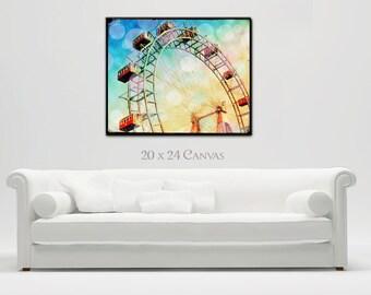 Ferris Wheel Large Canvas Wall Art, Prater Ferris Wheel Vienna, Carnival Art, Home Decor, Bokeh
