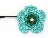 Crochet Flower Pin / Blue Flower Pin / Girl's Hair Pin / Hair Accessory / Crochet Hair Pin