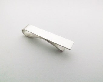 Silver Tie Bar - Standard or Skinny Length - Handcrafted in Sterling Silver - Plain Tie Clip